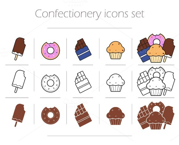 Confectionery 15 Icons Vector