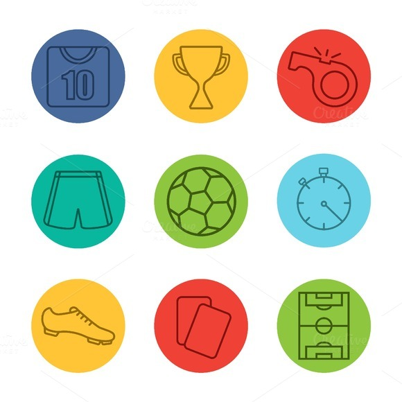 Soccer Equipment 9 Icons Vector