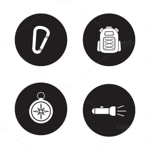 Hiking Equipment 4 Icons Vector