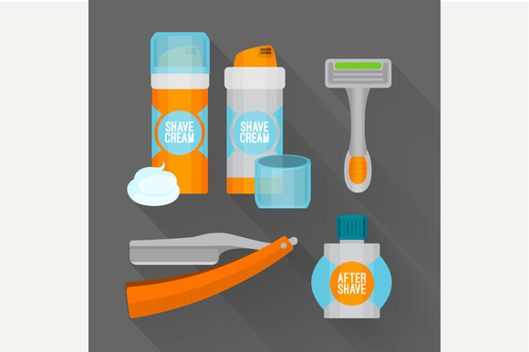After Shave Flat Icon Set