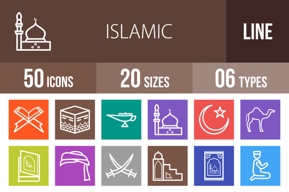 50 Islamic Line Multicolor Icons