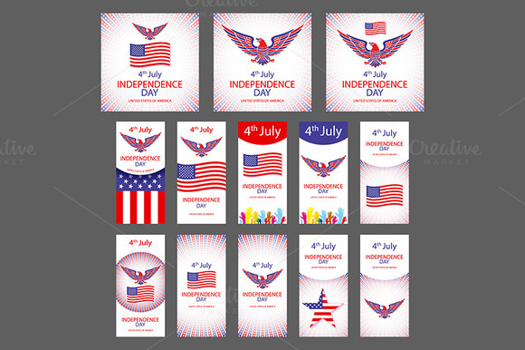 Independence Day USA Set Vector