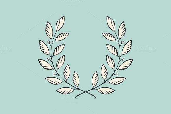 Laurel Wreath Icon Engraving Styl
