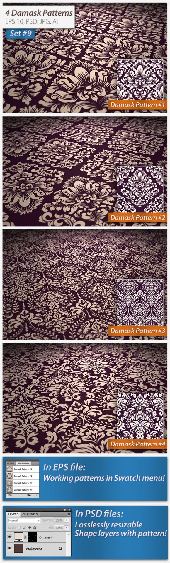 4 Seamless Damask Patterns Set#9