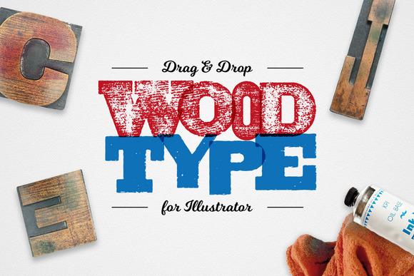 Drag Drop WoodType For Illustrator