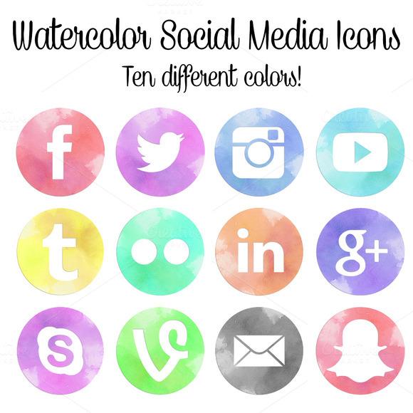 Watercolor Social Media Icons Set