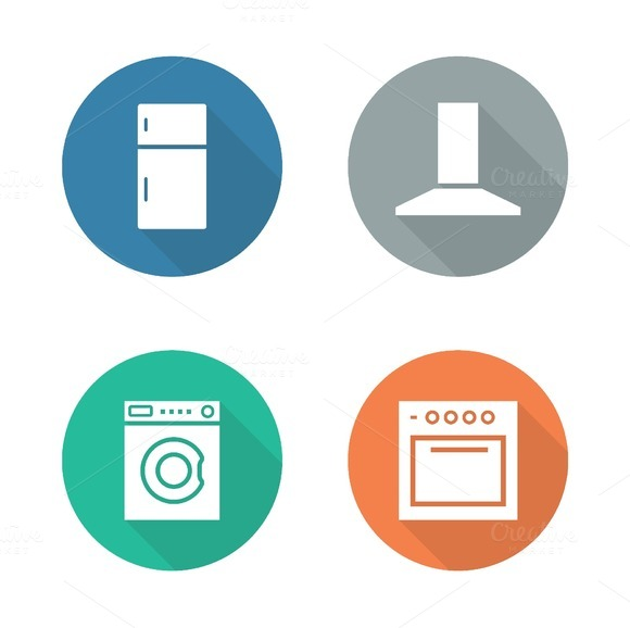 Kitchen Electronics 4 Icons Vector