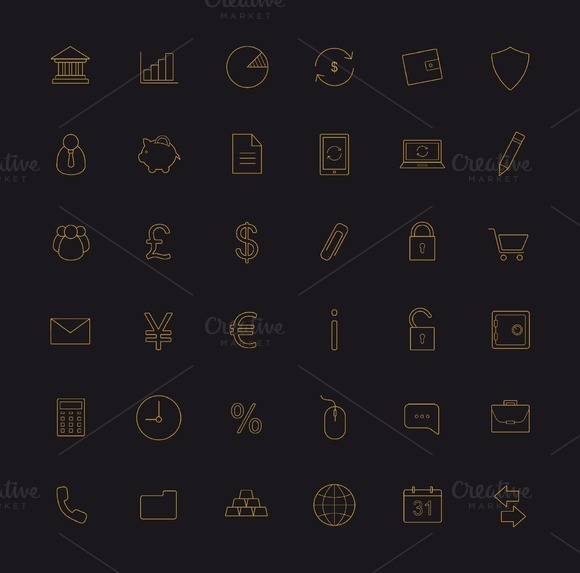 Finance And Banking 36 Icons Vector
