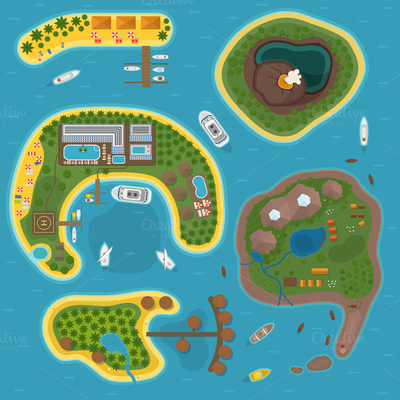 Island Top View Vector Illustration