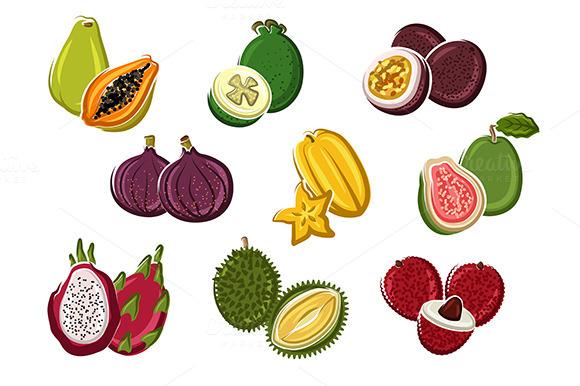 Ripe Fresh Tropical Fruits