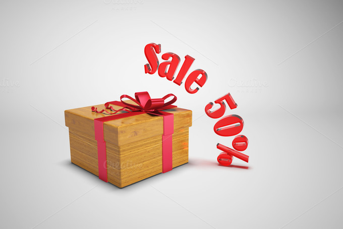 Gift Box And Text Sale
