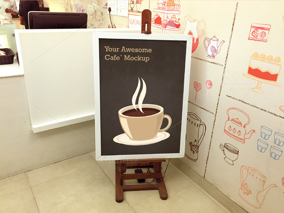 Cafe Tripod Easel Mockup