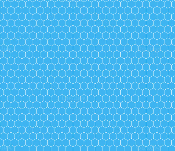 White Hexagon Grid On Cyan