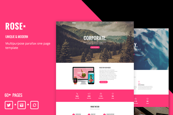 Rose Responsive One Page Template