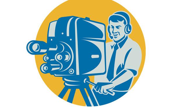 Film Crew TV Cameraman With Movie