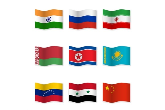 Waving National Flags Set-12