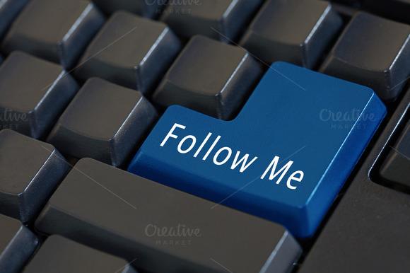 Word Follow Me On Enter Keyboard Social Media Concept