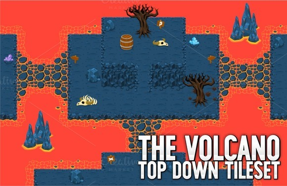 The Volcano Top Down Tileset