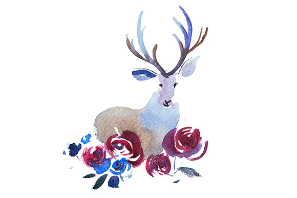 Deer Head With A Bouquet Of Flowers