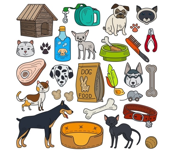 Vector Hand Drawn Cats And Dogs