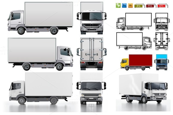 Delivery Cargo Truck Mockup Pack