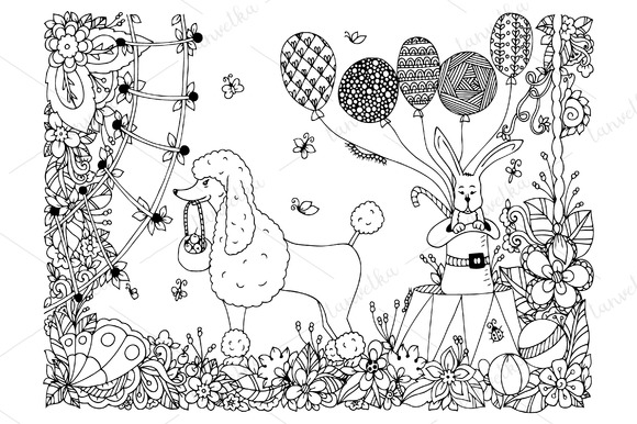 Doodle Circus Poodle Flowers
