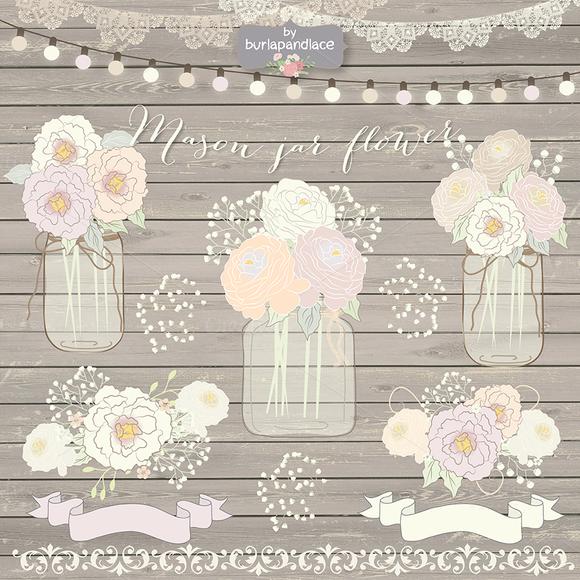 Hand Draw Mason Jar Wedding Clipart