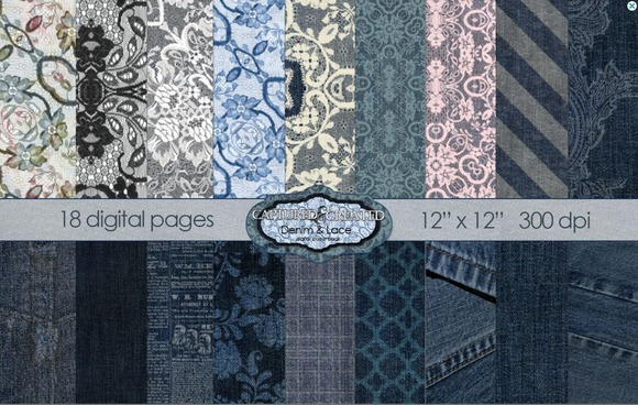 Denim Lace Mega Digital Paper 18