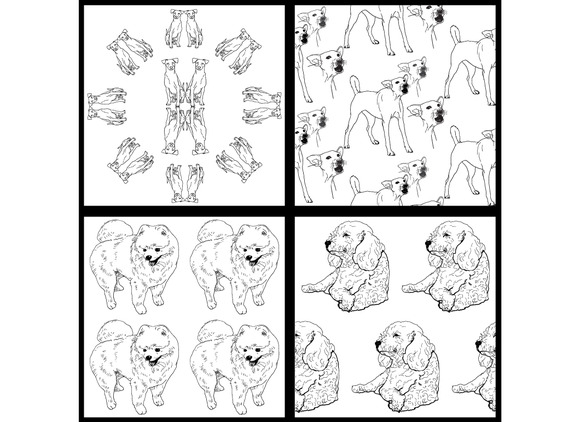 Seamless Pattern Of Dog-black And Wh