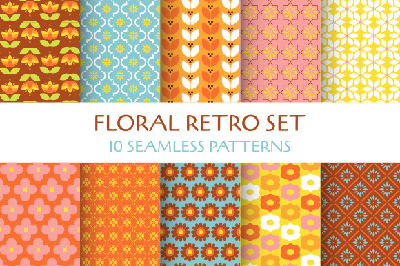 Floral Retro 10 Seamless Patterns
