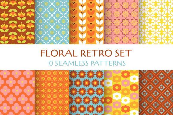Floral Retro 10 Seamless Patterns
