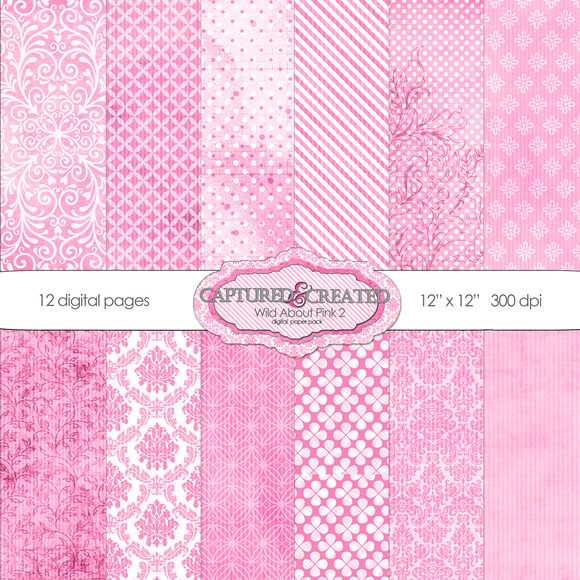 Wild About Pink Set 2 Digital Paper