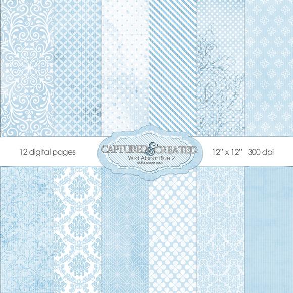 Wild About Blue Set 2 Digital Paper
