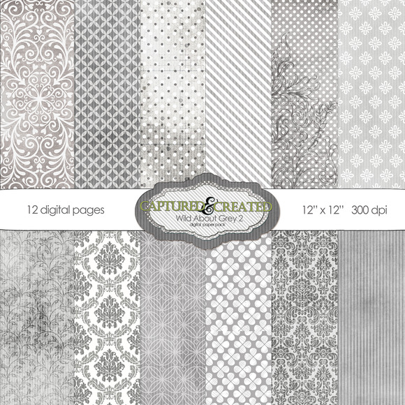 Wild About Grey Set 2 Digital Paper
