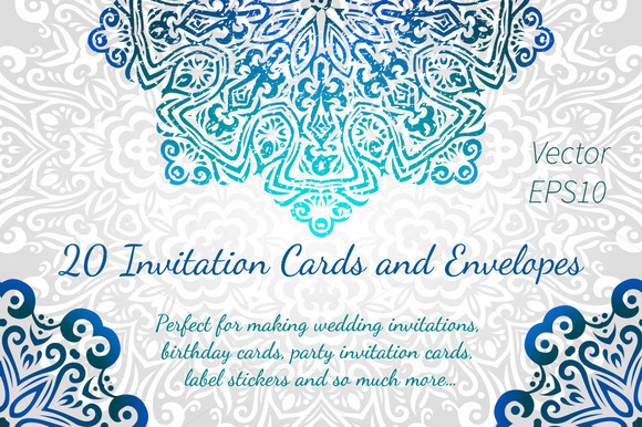 20 Invitations Cards And Envelopes