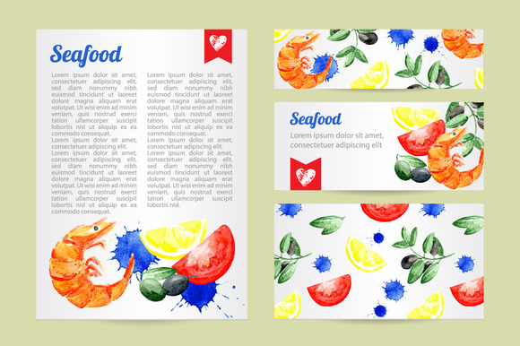 Seafood Watercolor Template