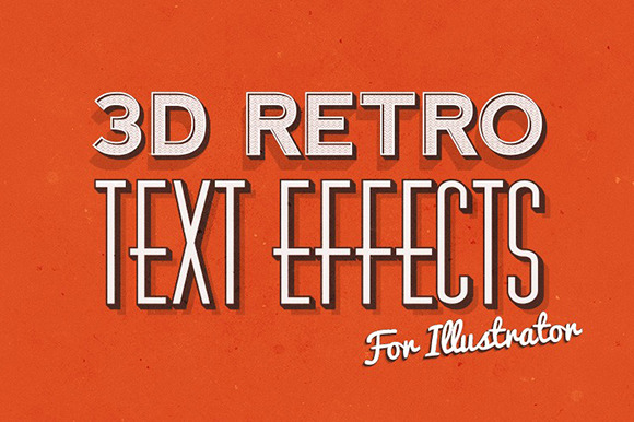3D Retro Text Effects Illustrator