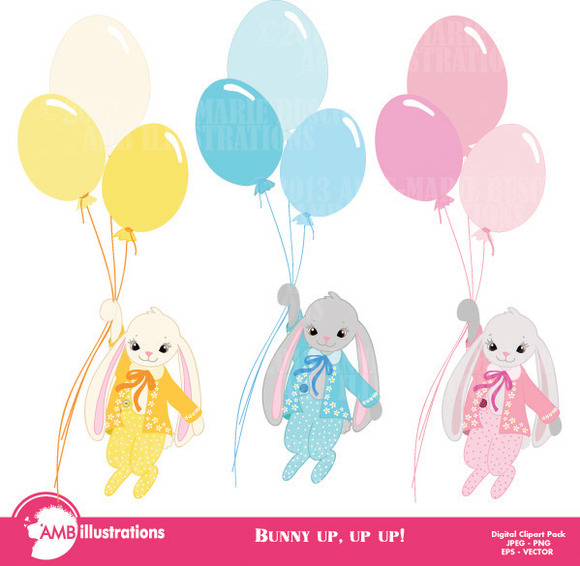 Bunny Flying High With Balloons 551