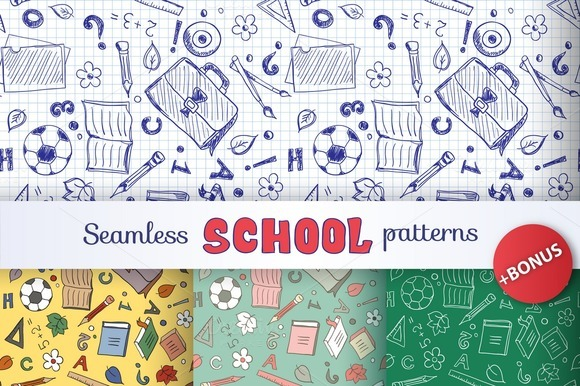 Set Of 4 Seamless School Patterns