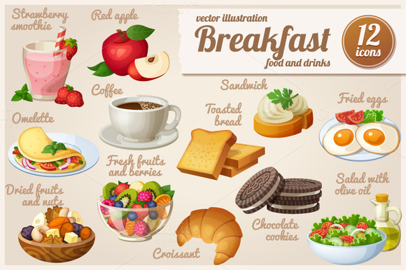 Set Of Food Icons Breakfast