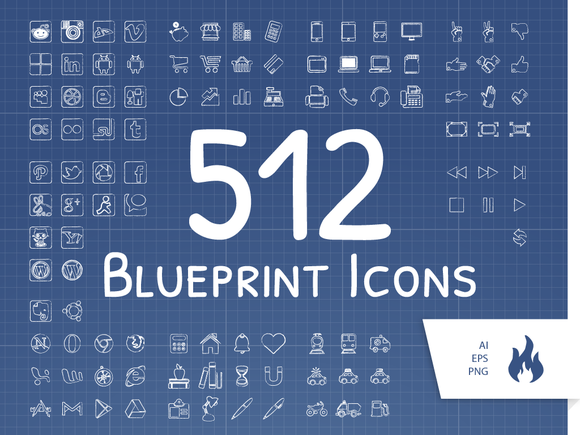 512 Blueprint Sketched Icon Set