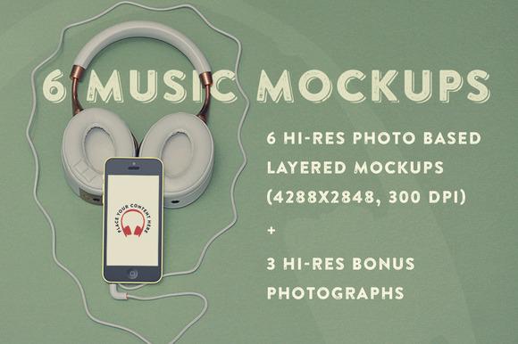 6 Music Hero Mockups 3 Bonus Photos