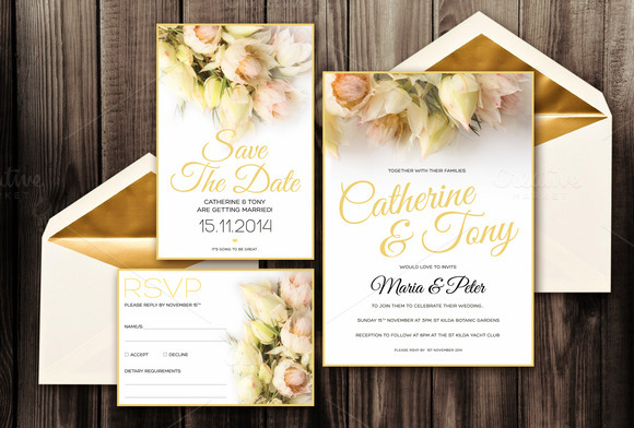 Blushing Bride Invitation Pack PSD