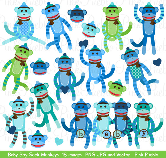 Baby Boy Sock Monkey Clipart Vectors