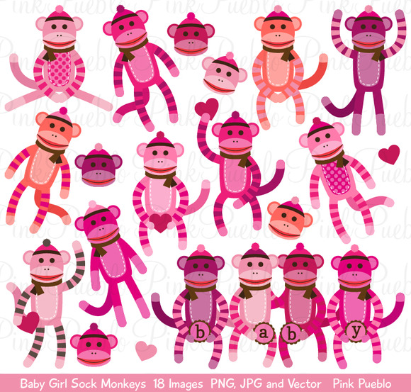 Baby Girl Sock Monkey Clipart Vector