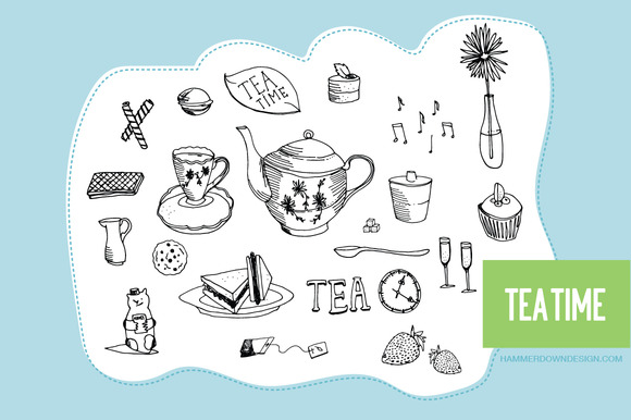 Hand Drawn Clipart Tea Time