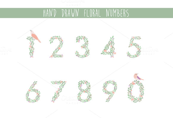 Hand Drawn Floral Numbers