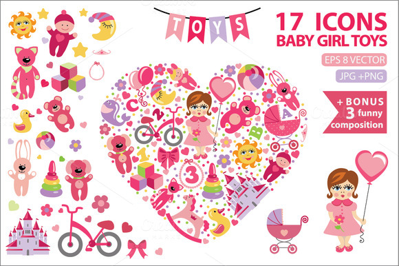 Children Toys Icons For Little Girl