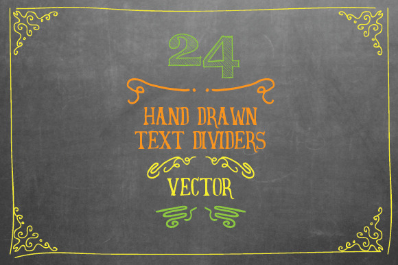 24 Hand Drawn Text Dividers Vector
