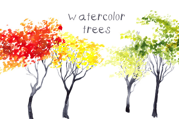 Watercolor Trees Clip Art